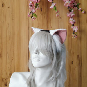 Classic White Cat Ears: Dusty Pink